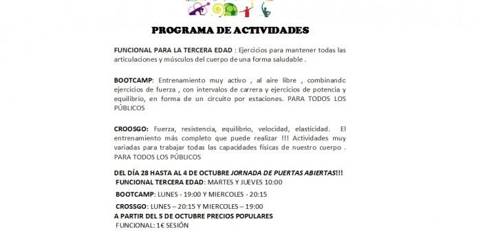 PROGRAMA DE ACTIVIDADES POLIDEPORTIVO MUNICIPAL